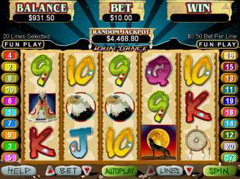 Native RainDance slot machine pic
