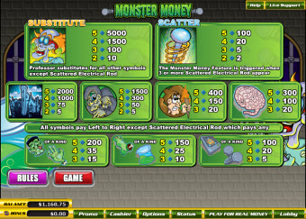 Monster Money paytable image